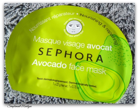 simplement marilyne Masque-visage-avocat-tissu-sephora haul sephora masque tissus avocat hello kitty vernis herome estee lauder make up for ever too faced candelight glow achats produits
