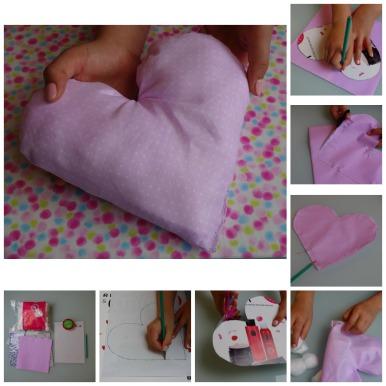 diy do it yourself coussin coeur idée cadeau fête des mères enfant fait mains