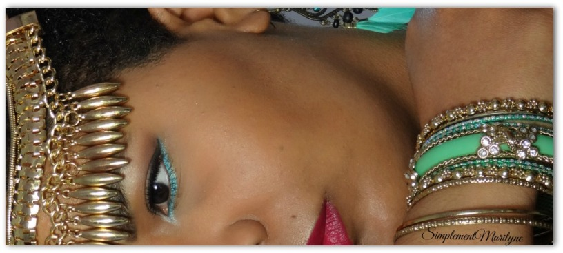 Maquillage-turquoise-msc monday shadow challenge yeux makeup simplement marilyne