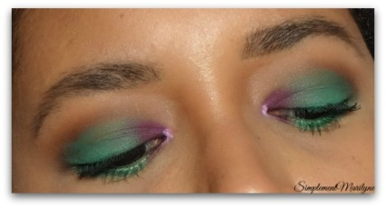 simplementmarilyne maquillage makeup too faced ud yeux vert emeraude monday shadow challenge msc violet