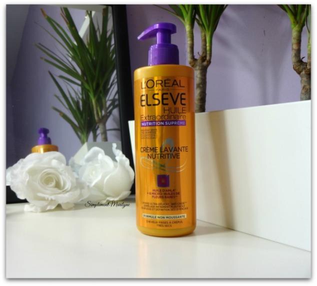 produits finis l'Oréal Huile Extraordinaire Nutrition Suprême crème lavante low shampoo simplement marilyne
