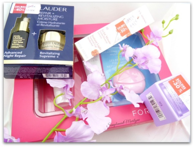 haul-soldes-hiver-2017-sephora-estee-lauder-advance-night-repair-clarins-clinique-take-the-day-off-foreo-simplement-marilyne