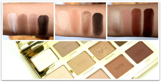 swatches-Tartelette-in-bloom-clay-2-tarte-cosmetics-maquillage-palette-yeux-neutre-tons-chauds-charmer-jestsetter-rocker-flowerchild-smarty pants- firecracker-funny girl-sweetheart-rebel-leader-simplement-marilyne
