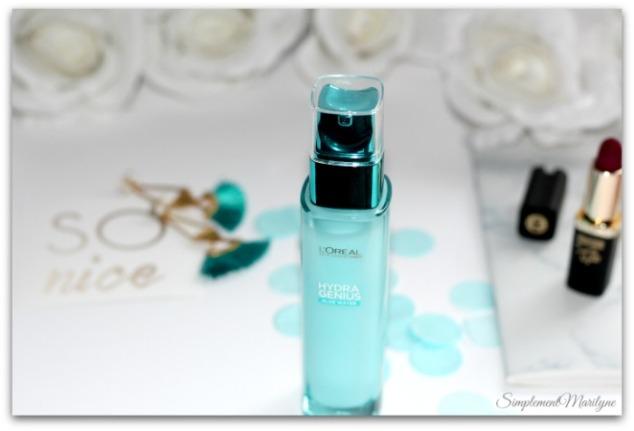 soin liquide hydra genius l'oreal paris aloe water hydratation peaux seches et sensibles sérum simplement marilyne