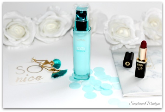 soin liquide hydra genius l'oreal paris aloe water hydratation peaux seches et sensibles simplement marilyne