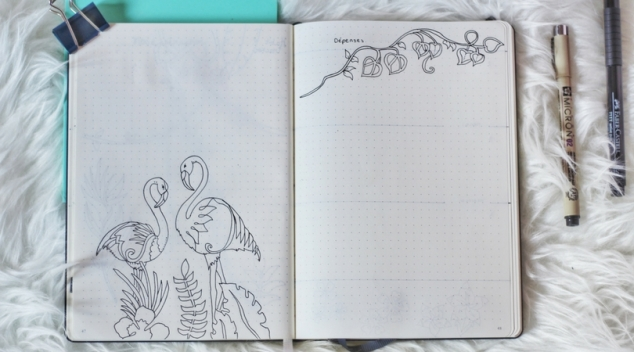 Habit tracker, bujo, bullet journal. Flamands roses dessin