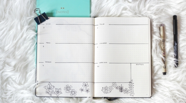 Week planner Bullet journal Avril